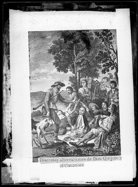 CA-0761-VI_Grabado del Quixote-Escena titulada Discretas altercaciones [sic] de Don Quijote y el Canónigo