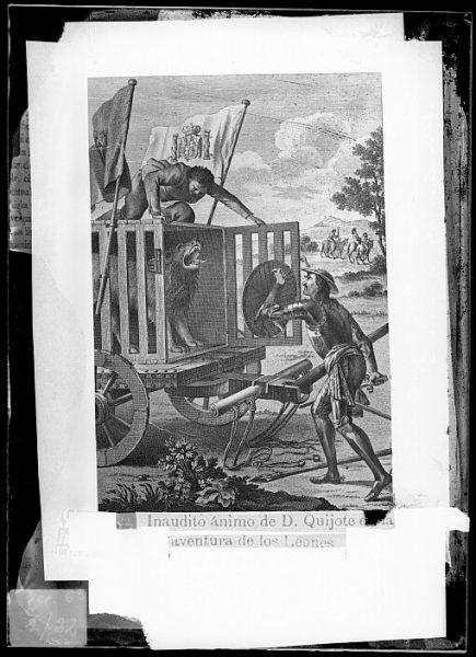 CA-0766-VI_Grabado del Quixote-Escena titulada Inaudito ánimo de D Quijote en la aventura de los leones