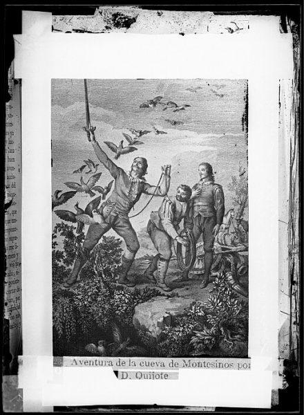 CA-0768-VI_Grabado del Quixote-Escena titulada Aventura de la cueva de Montesinos por D Quijote