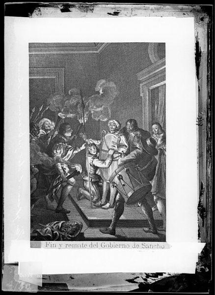 CA-0774-VI_Grabado del Quixote-Escena titulada Fin y remate del Gobierno de Sancho