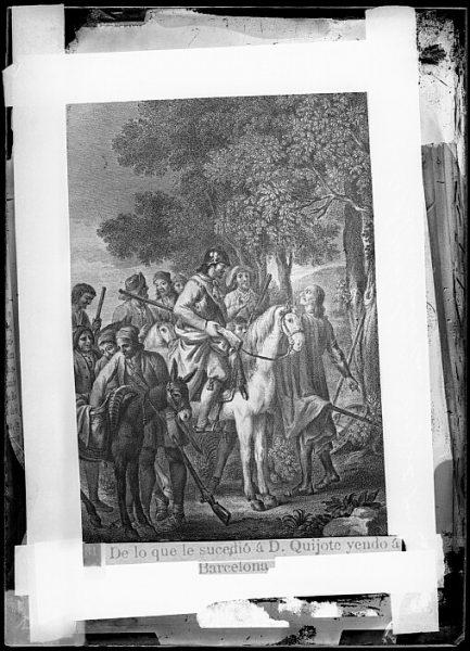CA-0775-VI_Grabado del Quixote-Escena titulada De lo que le sucedió a D Quijote yendo a Barcelona