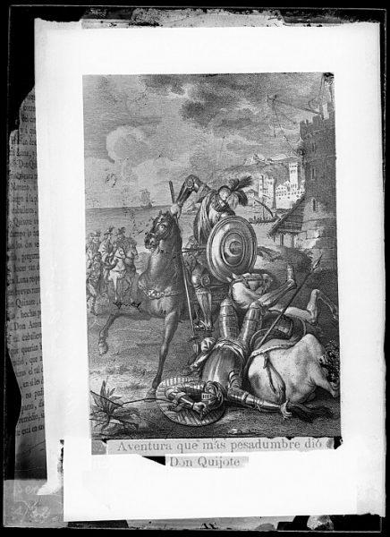 CA-0776-VI_Grabado del Quixote-Escena titulada Aventura que más pesadumbre dio a Don Quijote