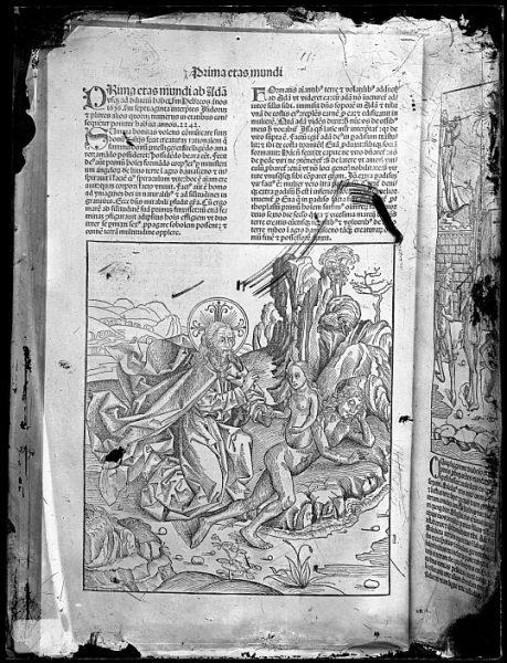 CA-0782-VI_Grabado que ilustra la Prima eras mundi del Liber chronicarum de Hartmann Schedel, impreso por Anton Koberger, en Nuremberg en 1493