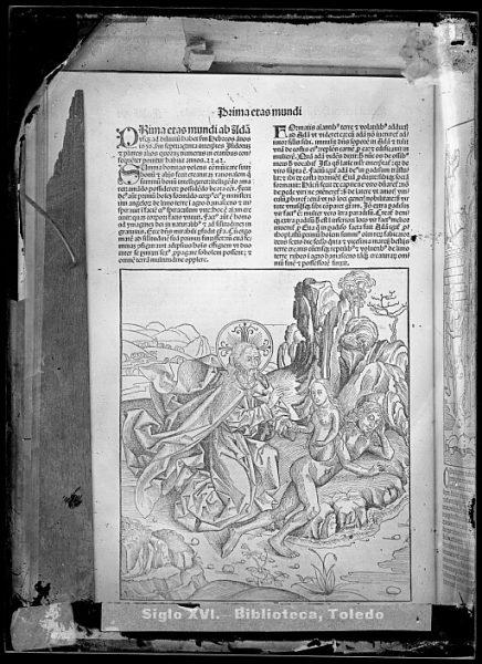 CA-0783-VI_Grabado que ilustra la Prima eras mundi del Liber chronicarum de Hartmann Schedel, impreso por Anton Koberger, en Nuremberg en 1493