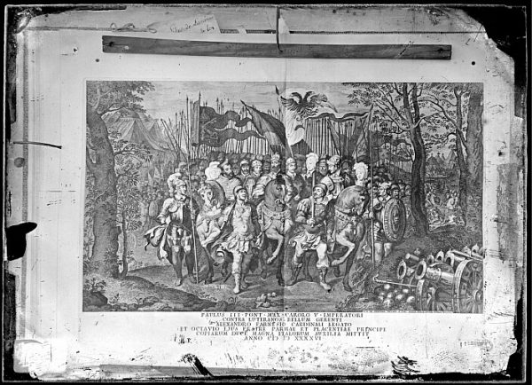 CA-0795-VI_Grabado titulado Paulus III Pont Max Carolo V Imperatore contra luteranos dibujado por G C Prenner en Roma hacia 1745