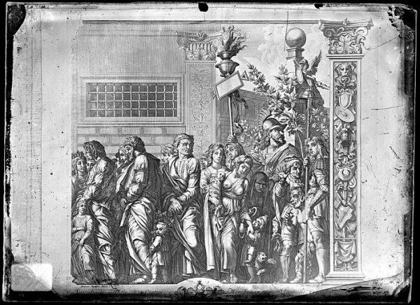 CA-0796-VI_Grabado de la serie El Triunfo de César, descrito como Succedunt capti , basado en una obra de Andrea Mantegna y realizado por Cornelis Huyberts a finales del siglo XVII
