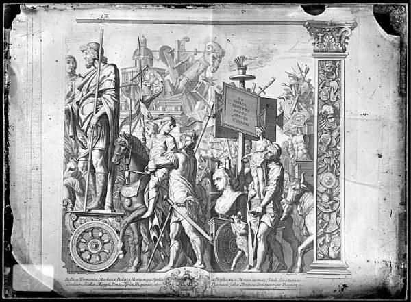CA-0797-VI_Grabado de la serie El Triunfo de César, descrito como Bellica Tormenta , basado en una obra de Andrea Mantegna y realizado por Cornelis Huyberts a finales del siglo XVII