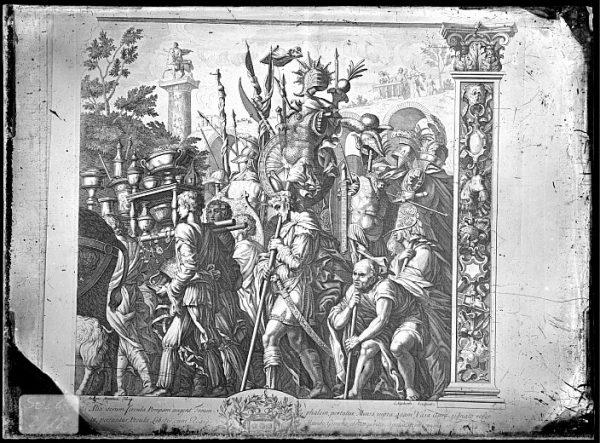 CA-0798-VI_Grabado de la serie El Triunfo de César, descrito como Alia iterum , basado en una obra de Andrea Mantegna y realizado por Cornelis Huyberts a finales del siglo XVII