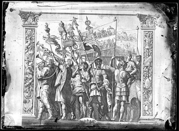 CA-0800-VI_Grabado de la serie El Triunfo de César, descrito como Praecedunt Tubicines , basado en una obra de Andrea Mantegna y realizado por Cornelis Huyberts a finales del siglo XVII