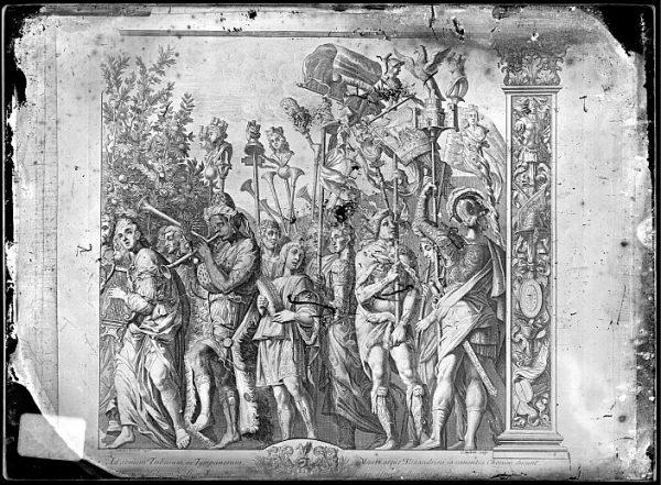 CA-0801-VI_Grabado de la serie El Triunfo de César, descrito como Ad sonum Tubarum , basado en una obra de Andrea Mantegna y realizado por Cornelis Huyberts a finales del siglo XVII