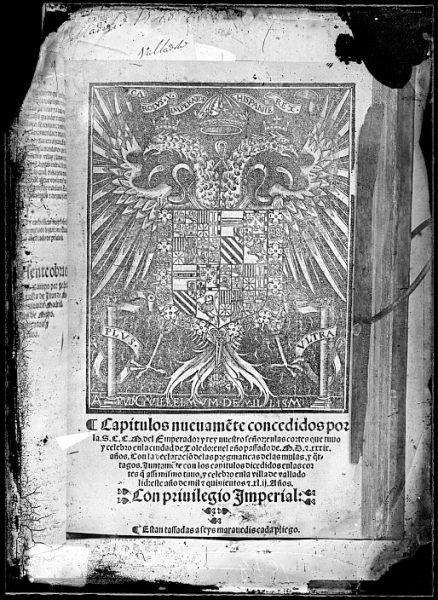CA-0802-VI_Grabado del escudo imperial de Carlos V reproducido en un libro editado en Valladolid en 1542