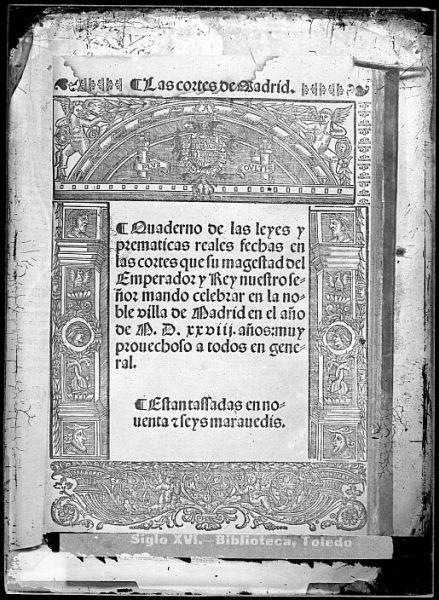 CA-0806-VI_Grabado del escudo imperial de Carlos V incluido en la portada del libro Las Cortes de Madrid, Quaderno de las leyes y prematicas reales , impreso posiblemente en Salamanca, en 1540