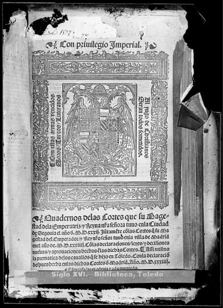 CA-0807-VI_Grabado del escudo imperial de Carlos V incluido en la portada del libro Quadernos delas Cortes que su Magestad dela Emperatriz y Reyna tuuo enla ciudad de Segouia el año d[e] M D XXXII , posibl