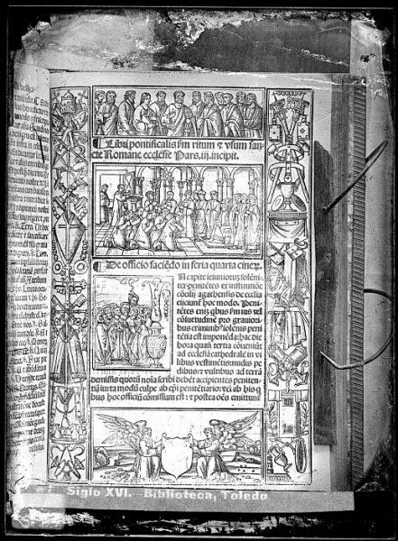 CA-0813-VI_Grabado de la portada del Libri pontificalis s[ecundu]m ritum e vsum sancte Romane ecclesie-pars iii incipit, impreso posiblemente en Venecia a mediados del siglo XVI