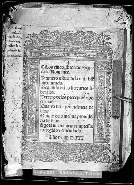 CA-0816-VI_Grabado que ilustra la portada del libro Los cinco libros de Seneca en romance , impreso en Alcalá de Henares en 1530