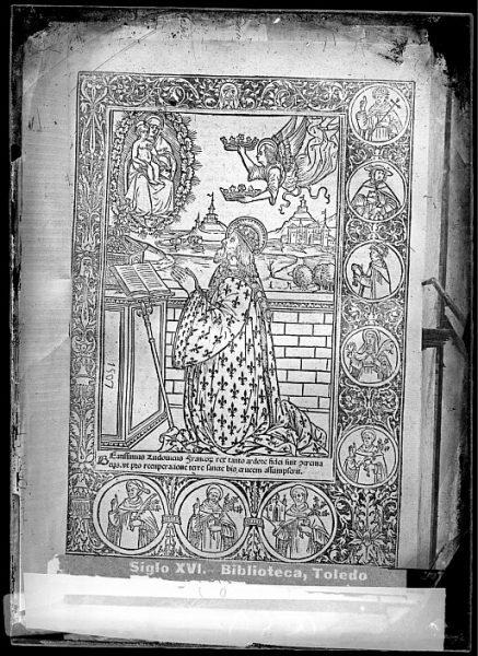 CA-0822-VI_Grabado con la imagen de San Luis, Rey de Francia, en posición orante incluido en un libro de temática religiosa publicado a principios del siglo XVI