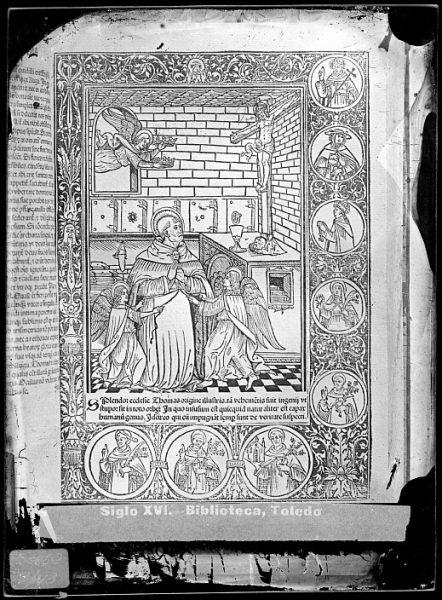 CA-0823-VI_Grabado con la imagen de Santo Tomás incluido en un libro de temática religiosa publicado a principios del siglo XVI