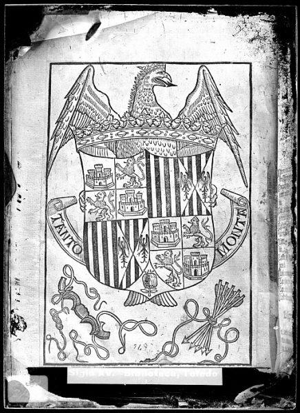 CA-0824-VI_Grabado del escudo de los Reyes Católicos con el lema de Tanto Monta incluido en un libro impreso en el siglo XVI