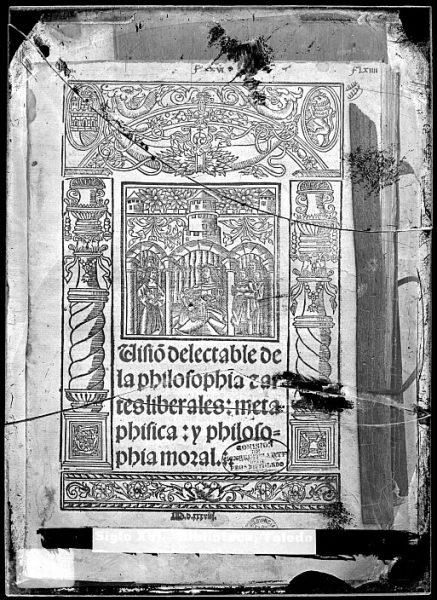 CA-0827-VI_Grabado que ilustra la portada del libro Visio[n] delectable de la philosophia e artes liberales-metaphisica -y philosophia moral, de Alfonso de la Torre, impreso en Sevilla en 1538