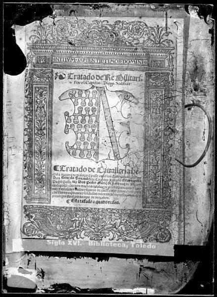 CA-0830-VI_Grabado de un escudo nobiliario incluido en la portada del libro Tratado de re militari Tratado de caualleria hecho a manera de dialogo de Diego de Salazar, impreso en Alcalá de Henares en 1536