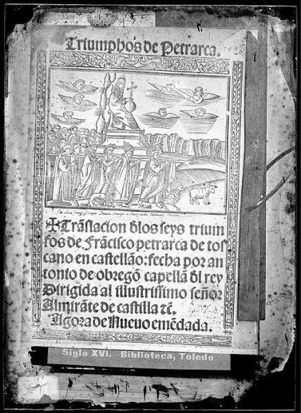 CA-0831-VI_Grabado de la procesión del triunfo de la divinidad que ilustra la cubierta del libro Triumphos de Petrarca Tra[n]slacion d[e] los seys Triumfos de Fra[n]cisco Petrarca , impreso en Sevilla en 1526