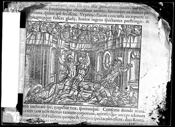 CA-0834-VI_Grabado de una escena de lucha entre gladiadores incluido en un libro no identificado del siglo XVI escrito en latín