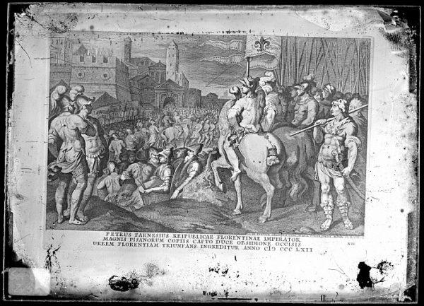 CA-0835-VI_Grabado titulado Petrus Farnesius reipublicae florentinae imperator que refleja la victoria de Florencia sobre Pisa en 1362, dibujado por G C Prenner en Roma hacia 1747