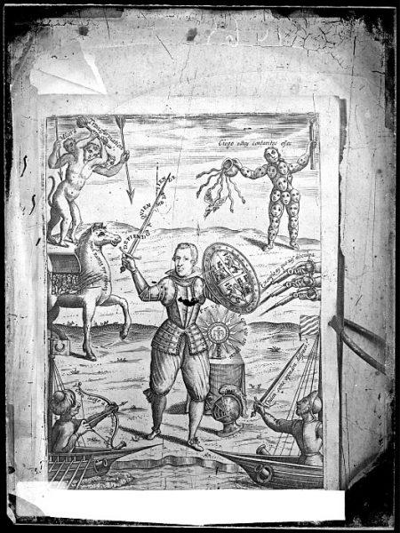 CA-0836-VI_Grabado alegórico del rey Felipe IV incluido en el libro El Fernando o Sevilla restaurada Poema heroico escrito con los versos de la Gerusalenme liberata del Insigne Torquato Tasso , de Juan Ant