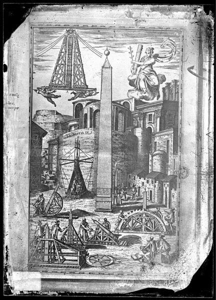 CA-0837-VI_Grabado que recoge distintas formas de colocar el obelisco en la plaza de San Pedro incluido en un libro de arquitectura no identificado