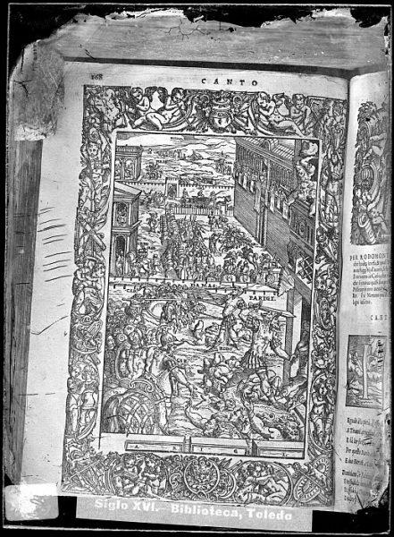 CA-0839-VI_Grabado con escenas militares y cortesanas incluidas en un libro italiano no identificado