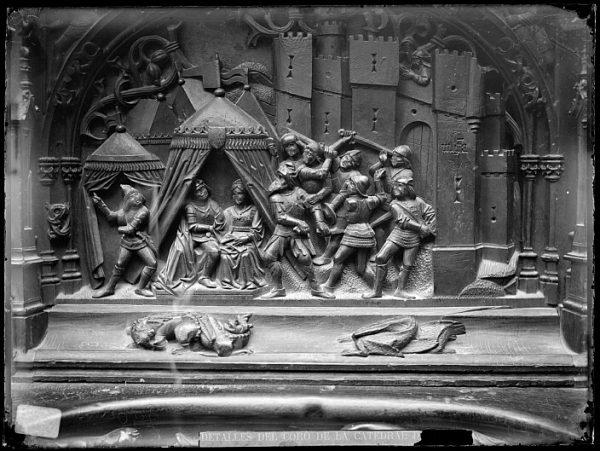 Catedral-Escena del Atentado contra los reyes en el cerco de Málaga en la sillería baja del coro_CA-0131-VI