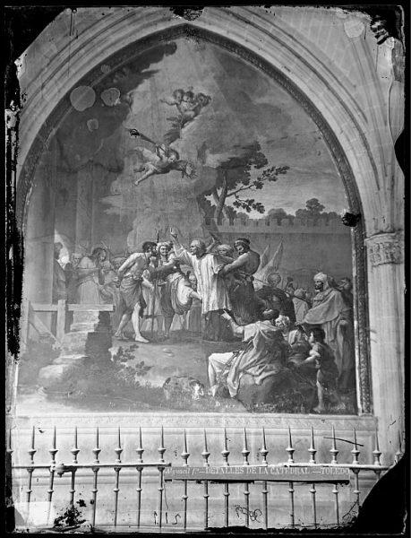 Catedral-Fresco de Francisco Bayeu titulado Prendimiento de San Eulogio en la pared de una de las naves del claustro_CA-0106-VI