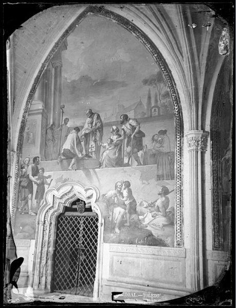 Catedral-Fresco de Francisco Bayeu titulado San Eugenio repartiendo el pan enmarcando una puerta del claustro_CA-0109-VI