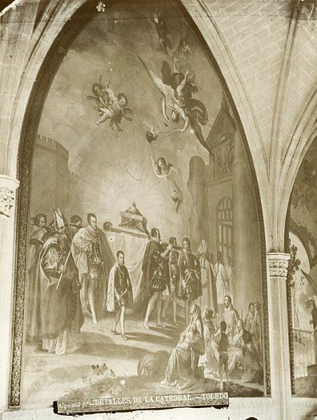 Catedral-Fresco de Francisco Bayeu titulado Translación de los restos de San Eugenio en la pared de una de las naves del claustro_CA-0108-PA