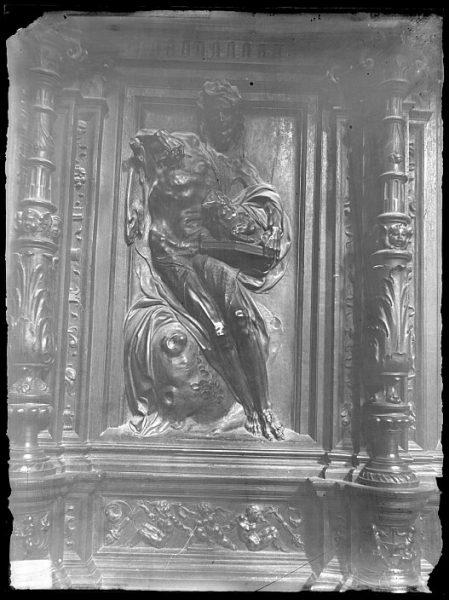 Catedral-Imagen de San Juan Bautista en la sillería alta del coro_CA-0155-VI