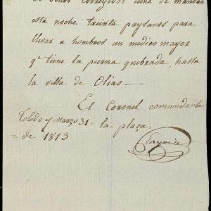 16. Un médico herido que había que llevar a Olías en 1813