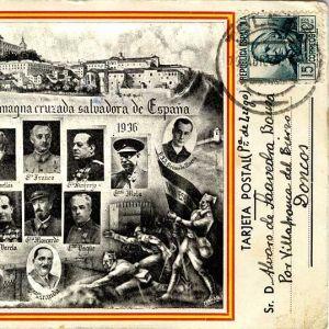 50. Las dos Españas unidas en una postal en la que un padre se preocupa por la educación de su hijo