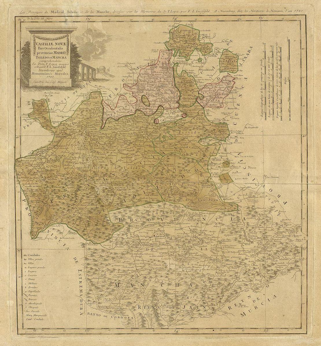 Restaurado un mapa de las provincias de Toledo, Madrid y La Mancha de 1781