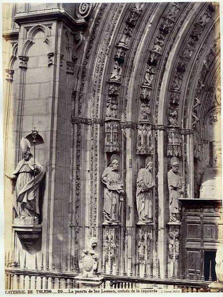 05-LAURENT - 0020 - Catedral de Toledo_La puerta de los Leones, costado de la izquierda