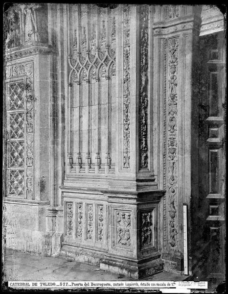 40-LAURENT - 0577 - Catedral de Toledo_Puerta del Berruguete, costado izquierdo, detalle