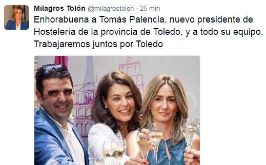 La alcaldesa traslada su felicitación a Tomás Palencia, nuevo presidente de la Asociación de Hostelería y Turismo de Toledo