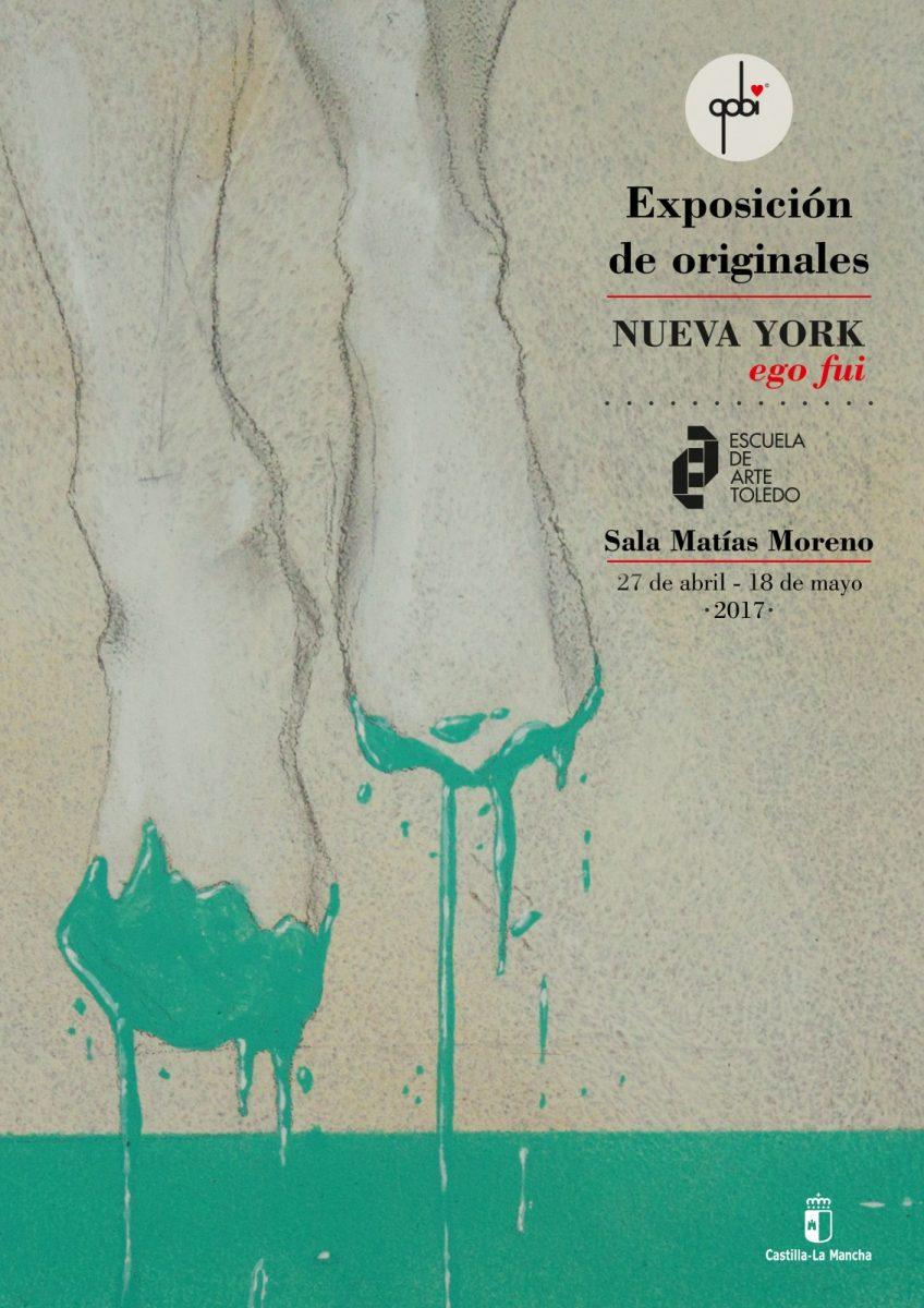 """https://www.toledo.es/wp-content/uploads/2017/04/cartel-escuela-de-arte-848x1200.jpg. Exposición """"Nueva York: Ego fui"""" de ilustrador Gobi"""