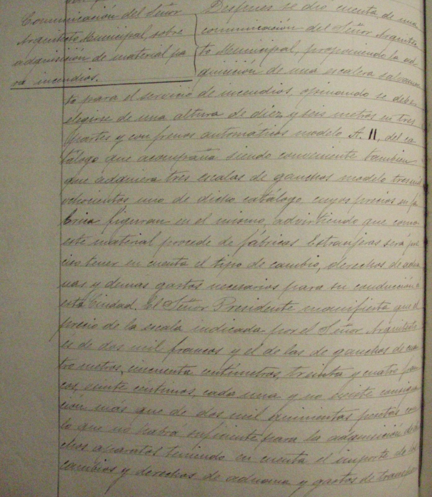 Libro de actas Ayto.Toledo . Octubre 1902-noviembre 1903, p. 195, Comunicación del Arquitecto sobre adquisición de material de incendios
