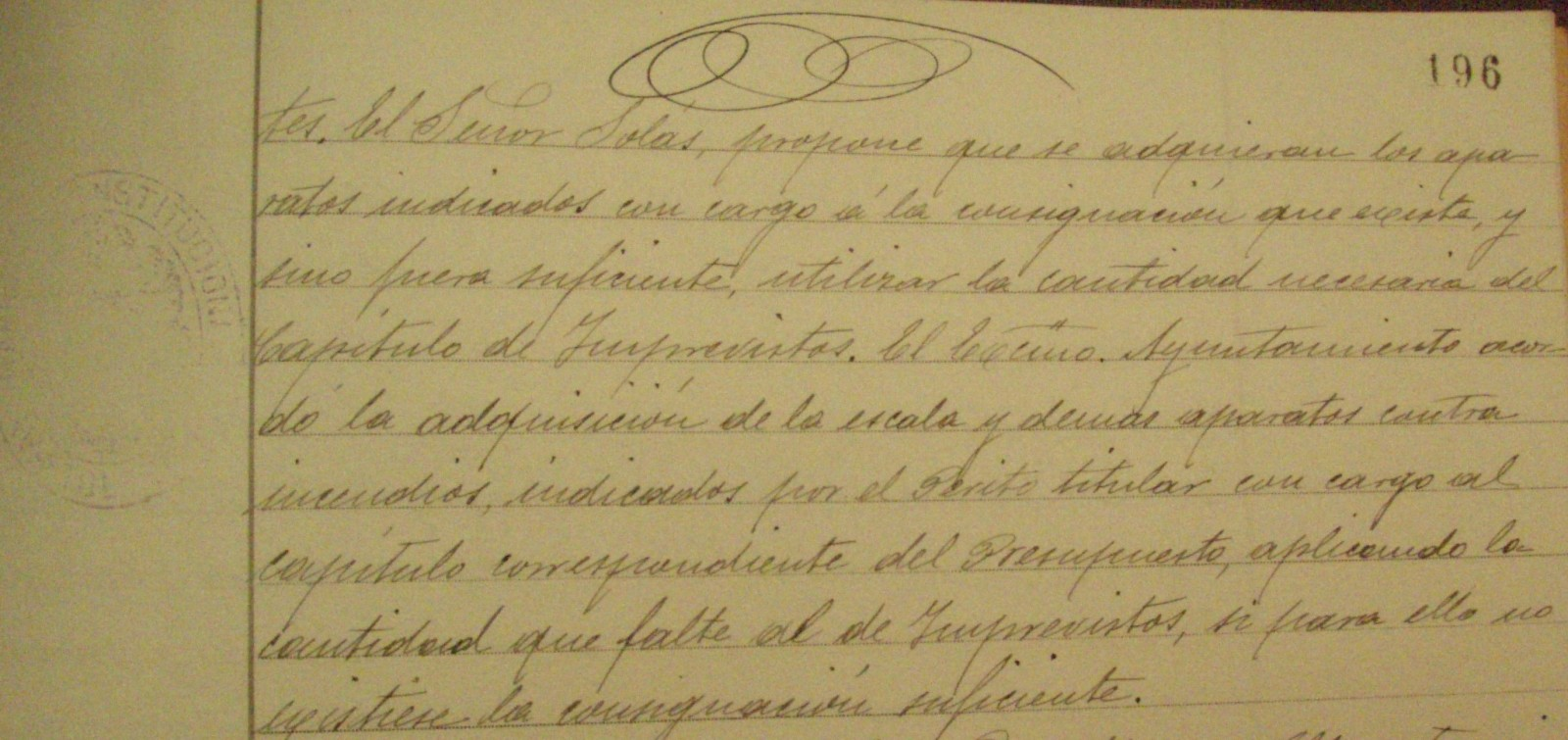 Libro de actas Ayto.Toledo . Octubre 1902-noviembre 1903, p. 196, Comunicación del Arquitecto sobre adquisición de material de incendios