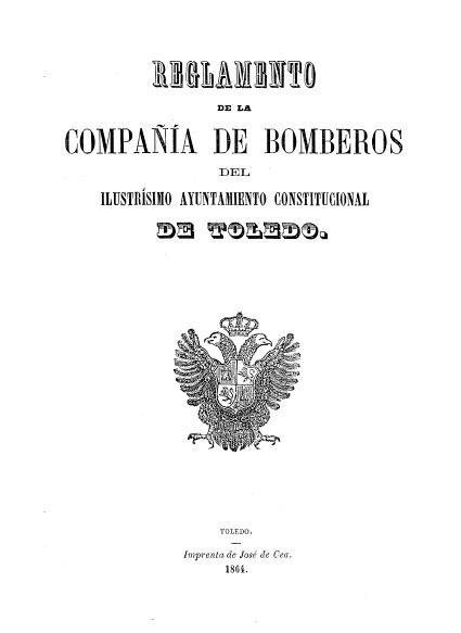 Portada reglamento Cuerpo de Bomberos de Toledo 1864