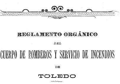 Portada reglamento Cuerpo de Bomberos de Toledo 1890