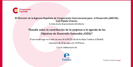 """Presentación del """"Estudio sobre la contribución de la empresa a la agenda de los Objetivos de Desarrollo Sostenible (ODS)"""""""
