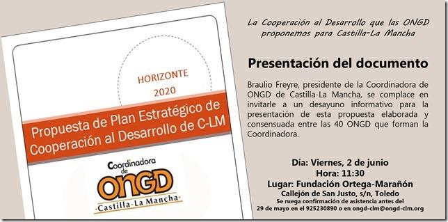 """Presentación del documento:""""Propuesta de Plan Estratégico de Cooperación al Desarrollo en CLM"""""""
