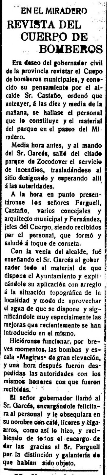 Maniobra Bomberos en el Miradero 3 de noviembre de 1921. El Castellano