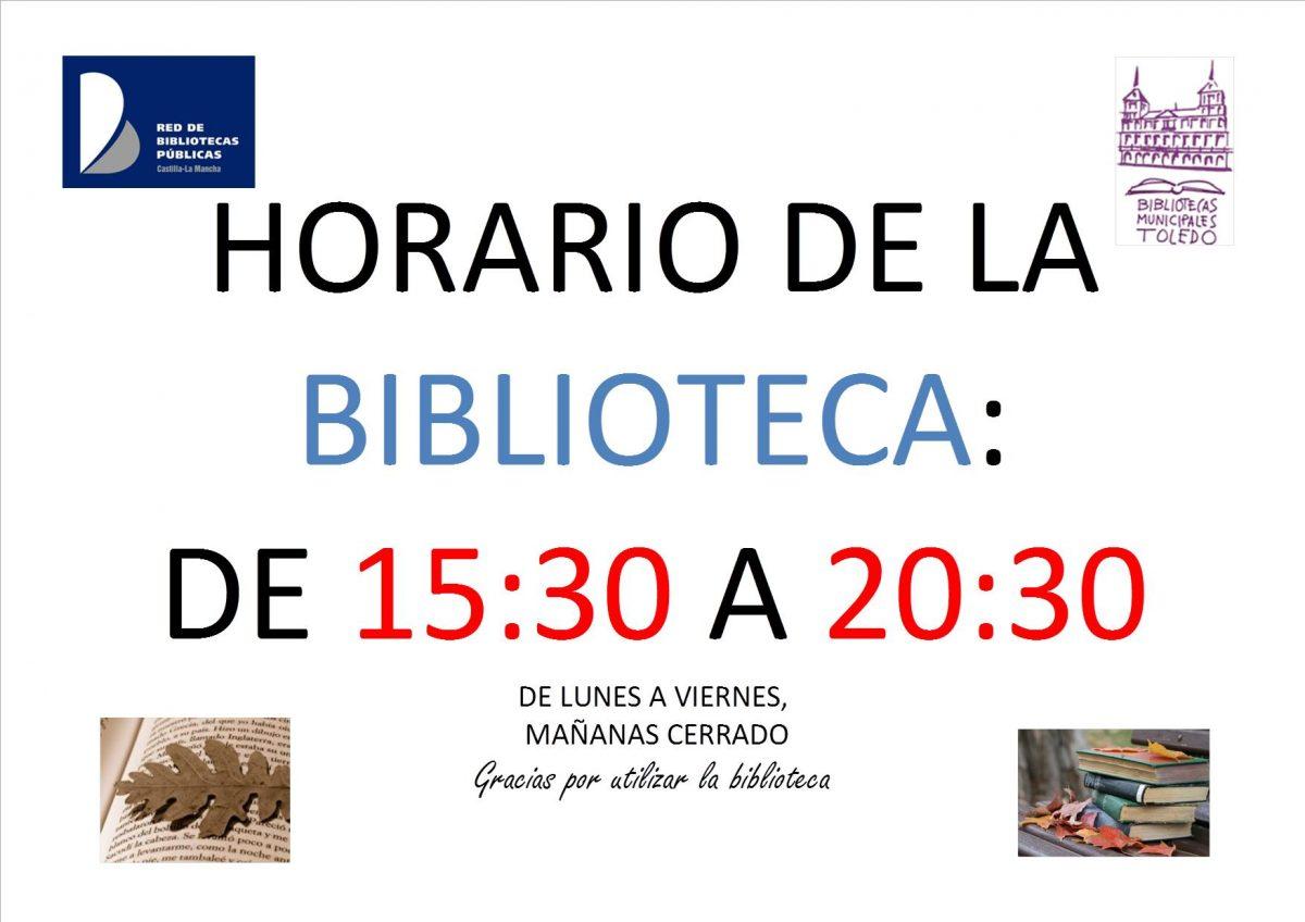 http://www.toledo.es/wp-content/uploads/2017/08/horario-normal-imagen-1200x848.jpg. HORARIO DE LA BIBLIIOTECA DE 15:30A 20:30 DE LUNES A VIERNES (mañanas cerreado)